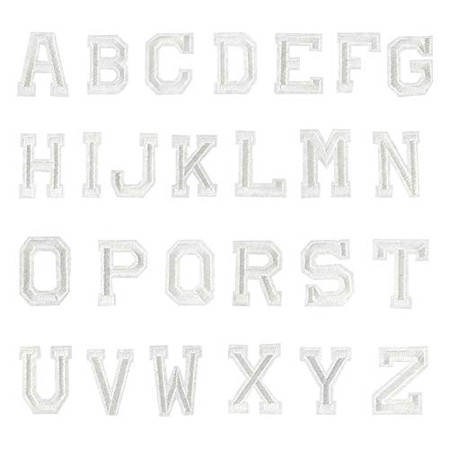 Iron Applique Letters - Danse Jupe 26pcs Alphabet A-Z Letters Appliques Embroidered Iron on/Sew on Patch DIY Accessory,White