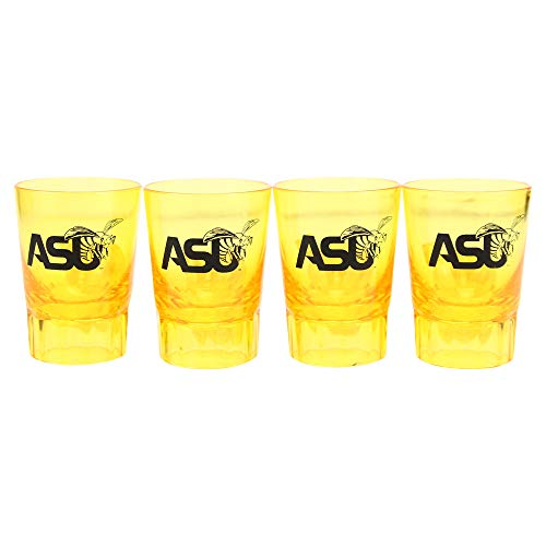 NCAA 4-Pack Full Color Plastic Stackable Team Logo Shot Glasses (Alabama State Hornets)