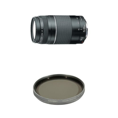 Canon EF 75-300mm f/4-5.6 III Telephoto Zoom Lens for Canon SLR Cameras w/ Tiffen Polarizer Filter