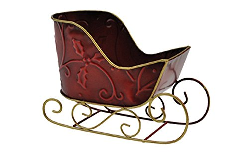Gold Sleigh (Red and Gold Christmas Sleigh - Empty Container 8-inch)