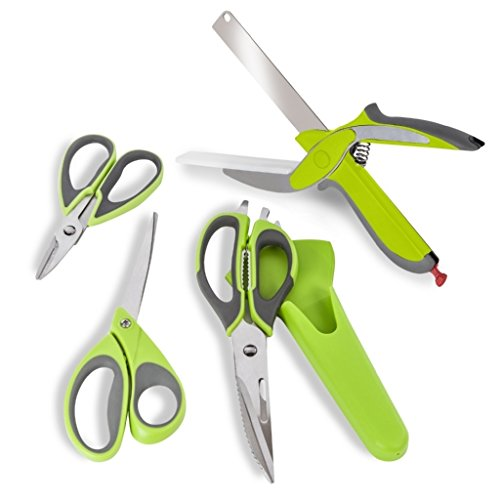 (Tower Health Scissor Set with Carbon Enforced Blades, 4-Piece, Green)