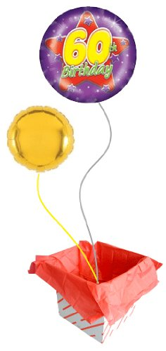 Purple 60th Birthday 18 Inch Foil Balloon Inflated In A Box