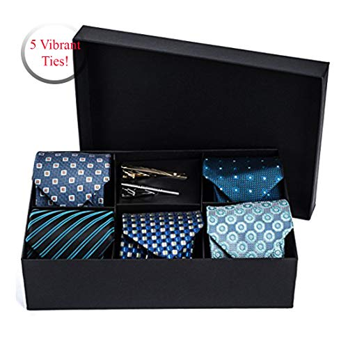 5 Luxurious Tie Set - 5 Men's Neckties And 2 Classy Tie Bars In Gift Box By Pointed Designs (Set 1 Blue)