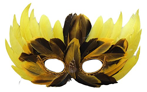Venetian Feather Mask Mardi Gras Sexy Prom Costume Party (Yellow) (New Orleans Costume)