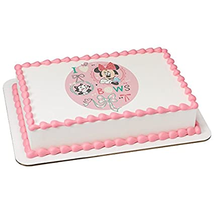 Kitchen, Dining & Bar Minnie Mouse I Love Bows Edible Cake Or Cupcake Toppers Decoration