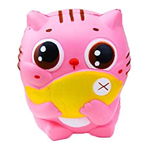 Chengcaifengye Kawaii Jumbo Slow Rising Squishies Cream Scented Relief Stress Squeeze Kid Toys Doll Gift for Fun Collection (Cat)