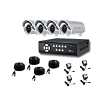 NETZEYE CCTVDVRH8004KIT/CAMKB480 4-channel H264 digital video recorder w/250G 4Xw/ CAMKB480/6mm ¨C (480 TV Line) 4 X 12V 1000mA power transformer 4 x 50ft pre make cable