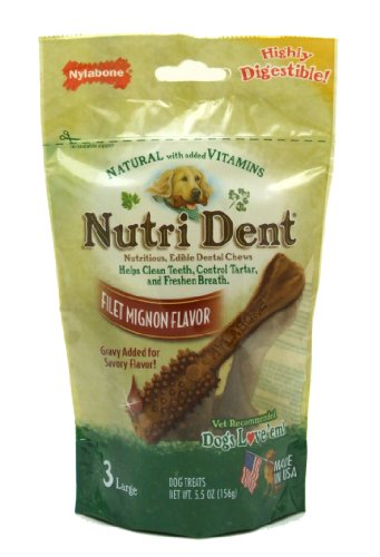Nylabone Nutri Dent Filet Mignon Flavor Chews, Large, 3-Count Pouch, My Pet Supplies