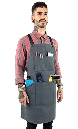 Under NY Sky Essential Gray Apron – Heavy Duty Waxed Canvas, Cross-Back with Split-Leg, Leather Reinforcement – Adjustable for Men and Women, Pro Mechanic, Welding, Woodwork, Blacksmith, Server Aprons by Under NY Sky
