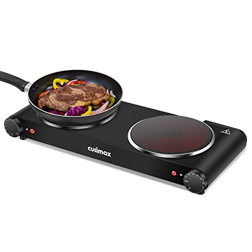 Cusimax Portable Electric Stove, 1800W Infrared Double Burner Heat-up In Seconds, 7 Inch Ceramic Glass Double Hot Plate Cooktop for Dorm Office Home Camp, Compatible w/All Cookware - Upgraded Version ()