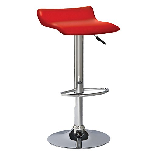 Leick Red Adjustable Height Swivel Bar Stool-Set of 2