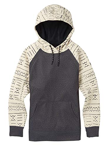 Burton Women's Crown Bonded Pullover Hoodie, Canvas Bogolanfini / True Black Heather, Canvas Bogolanfini/Heather Black
