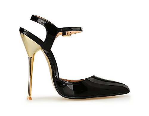 ZPL Womens Pointed Toe High Heels Sandals For Women Ankle Strap Buckles Dress Party Pumps Court Shoes Size 40-49 Black PS8orvuGwD