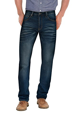 (Agile Mens Super Comfy Straight Stretch Denim Jean AKP44101SL Medium BLU 36X30)