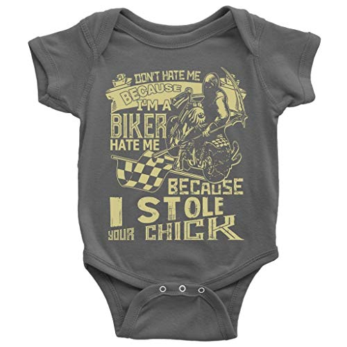 I Stole Your Chick Baby Bodysuit, I'm A Biker Cute Baby Bodysuit (12M, Baby Bodysuit - Dark -