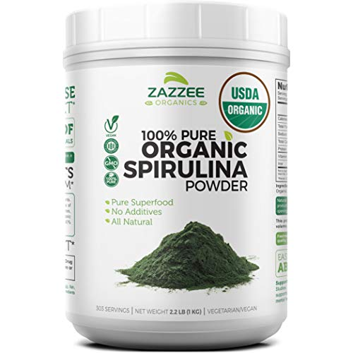 Zazzee USDA Organic Spirulina Powder 2.2 Pounds (1 KG), 303 Servings, 100% Pure and Non-Irradiated, Vegan, All-Natural, and Non-GMO, Mess-Free Wide Mouth Container, Fresh Smell and Neutral Taste (Nutrex Hawaii Hawaiian Spirulina)