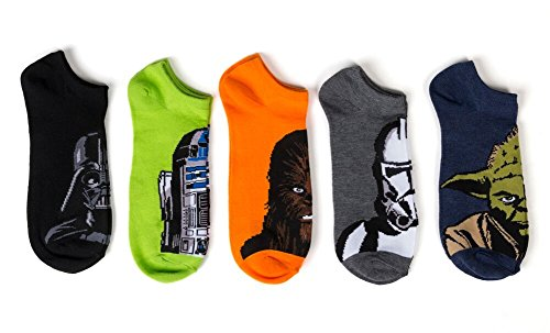 Disney Boys' Star Wars 5 Pack No Show Socks ,assorted solid, Sock Size 6-8.5; Shoe Size 7.5-3.5 -