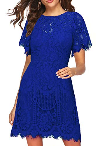 Cocktail Chic Dress Womens Wedding Guest Short Lace Evening Party Sexy Elegant Travel Casual Comfortable Simply A Line Dress for Ladies 910 (XL, Royal Blue) (Best Wedding Dresses For Short Women)