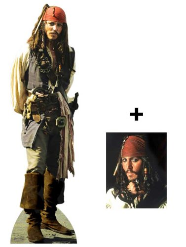 *FAN PACK* Captain Jack Sparrow (Johnny Depp) LIFESIZE CARDBOARD CUTOUT (STANDEE / STANDUP) - INCLUDES 8X10 (25X20CM) STAR PHOTO - FAN PACK #314