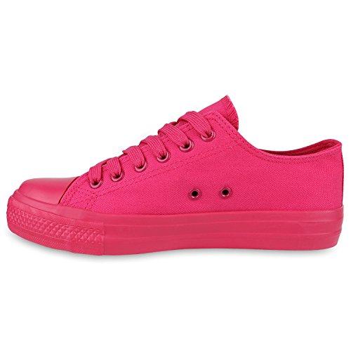 Stiefelparadies Damen Sneakers Spitze Pailletten Pastell Sportschuhe Schnürer Flandell Pink Pink Carlet