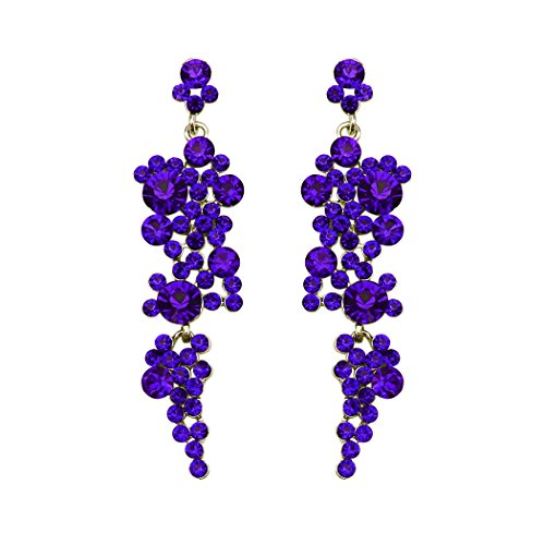 s Women's Rhinestone Crystal Bubble Dangle Statement Earrings (Blue) ()