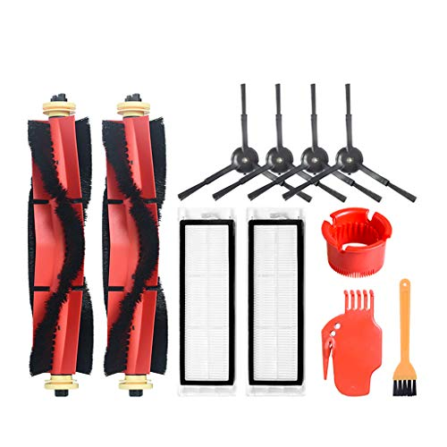 Iusun Rolling Brush+Filter+Side Brush+Bird Brush+Cylinder Replacement Parts Spare Kits For Xiaomi T4 T6 Vacuum Cleaner Sweeper Accessories Set (Black)