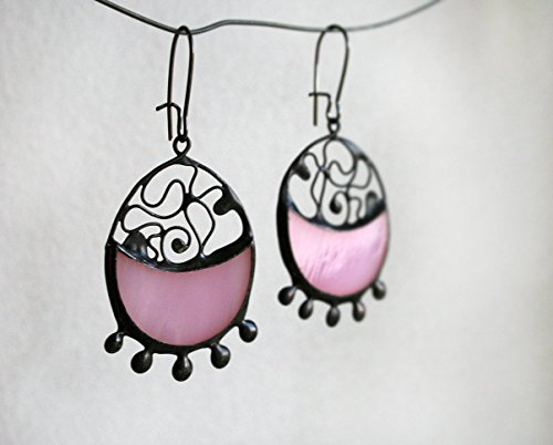 Soft Pink Stained Glass Earrings, Romantic, Artkvarta Jewelry, Christmas Gift For Her, Tiffany technique earings.