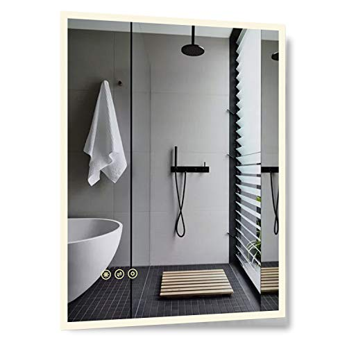 B&C 28x36 inch Super Slim Bathroom Mirror|Vertical or Horizontal|LED Backlit|Polished Edge &Frameless|Defogger -