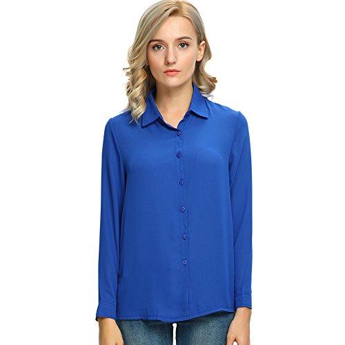 Over Long Sleeve Blouse - MODA JIHAN Women's Long Sleeve Button Down Chiffon Blouse Shirt Top (XL, Royal Blue)