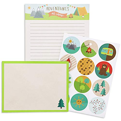 Juvale Camp Stationery Writing Kit, 24 Paper Sheets, 12 Envelopes, 12 Stickers