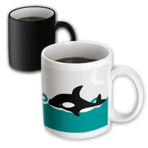 3dRose Cute Orca Whale in The Ocean at Night Magic Transforming Mug, 11-Ounce