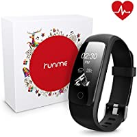 Runme Fitness Tracker with Heart Rate Monitor (Black)
