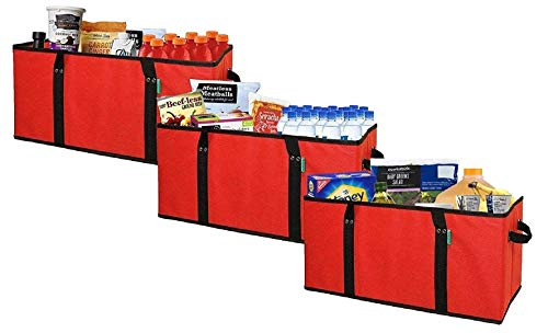 - Earthwise Deluxe Collapsible Reusable Shopping Box Grocery Bag Set with Reinforced Bottom Storage Boxes Bins Cubes (Red Xlarge)