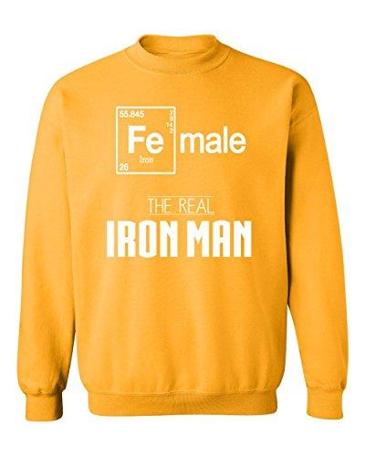 Female Real Iron Man Funny Elements Crewneck Sweatshirt, S, - Ironman Wtc
