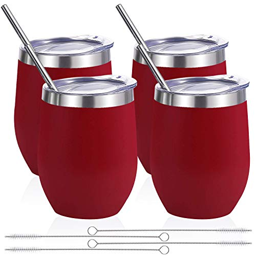 Zonegrace 4 pack 12 oz Stainless Steel Stemless Wine Glass Tumbler,Double Wall Vacuum Insulated Wine Red Wine Tumbler with Lids Set of 4 for Coffee, Wine, Cocktails, Ice Cream Including 4 Straws