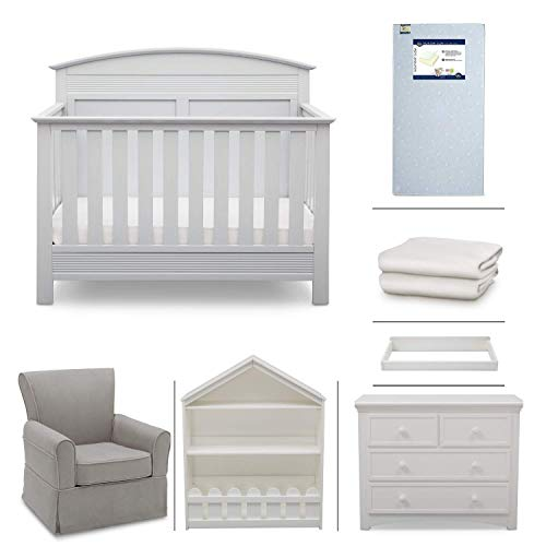 Serta Ashland 7-Piece Nursery Furniture Set - Convertible Crib | 4-Drawer Dresser | Changing Top | Bookcase | Crib Mattress | Glider | Crib Sheets | Bianca White from Delta Children