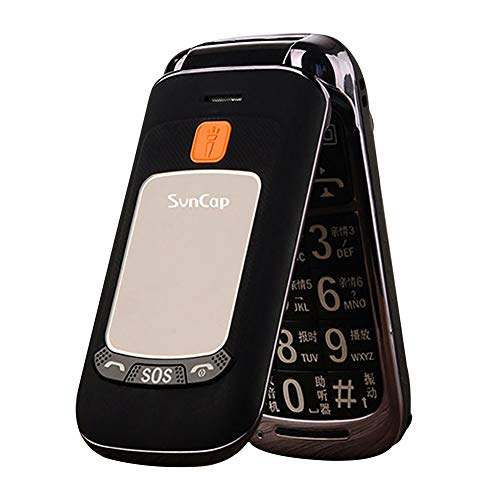 Bluetooth Loud Speaker Flip Phone Old Blind Person Mobile Phone Call Remind for Old Men or Blind People 1.6 Inch Screen(Black)