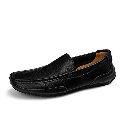 HANBINGPO Men Shoes Luxury Genuine Leather Casual Driving Loafers Moccasins Slip On Italian Big Size,Black,8 -