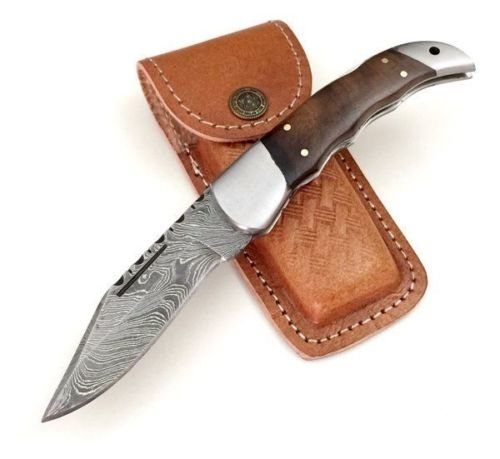 ASH f1h Damascus steel custom handmade pocket folding knife