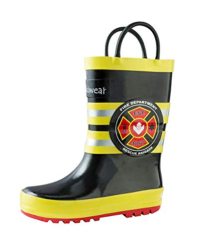 OAKI Kids Rubber Rain Boots with Easy-On Handles, Fireman Rescue, 10T US - Boots Rubber Fireman Kids