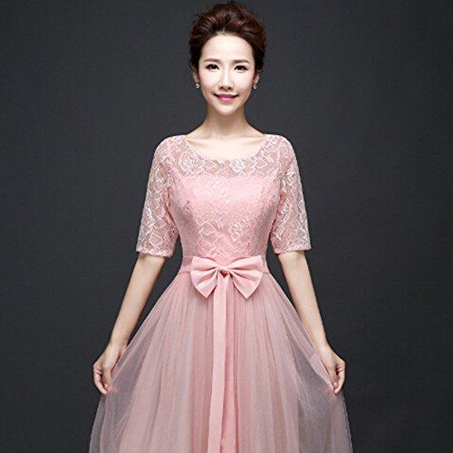 KAKA(TM)Women's Elegant Prom Dresses Short sleeve Bridesmaid Dress-L(Flesh Pink)