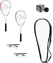 DUNLOP Beginner Squash Racquet Set (Includes 2 Racquets, 2 Eyeguards, 1 Ball, Cover)