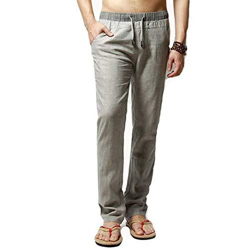 Los 2 Lisos Hombres Casuales Cómodo Playa Grau Lino Ocio Battercake Pantalones Cordón De 2018 Verano Con TSqZxXfA