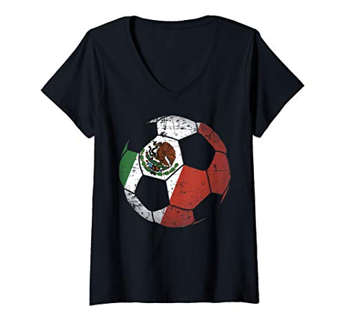 Womens Mexico Soccer Ball Flag Jersey Art - Mexican Football Gift V-Neck T-Shirt