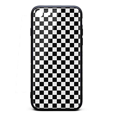 Yiastia_Minyi iPhone 6 Case, iPhone 6S Case Black and White Checkered 9H Tempered Glass Back Cover and TPU Rubber Frame Phone Cover Compatible for iPhone 6/iPhone 6S ()