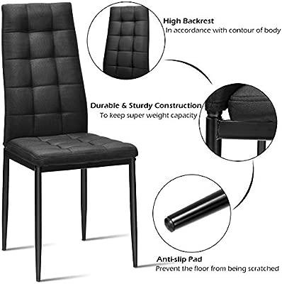 Amazon.com: Giantex Juego de 4 sillas de comedor de tela con ...