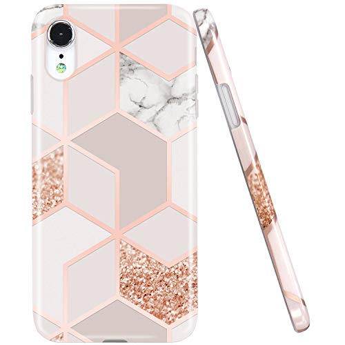 (JAHOLAN Compatible iPhone XR Case Bling Glitter Sparkle Rose Gold Marble Design Clear Bumper TPU Soft Rubber Silicone Cover Phone Case for iPhone XR 2018 6.1 inch)
