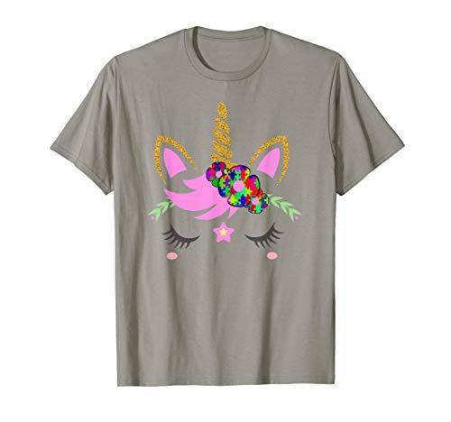 (Unicorn T-Shirt Autism Awareness Support Women Girl Top Tee)