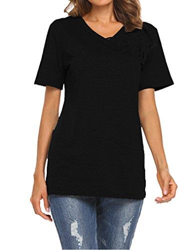 Qearal Women's Summer Short Sleeve V-Neck Loose Casual Tee T-Shirt Tops (Black, (Cotton Maternity T-shirt)