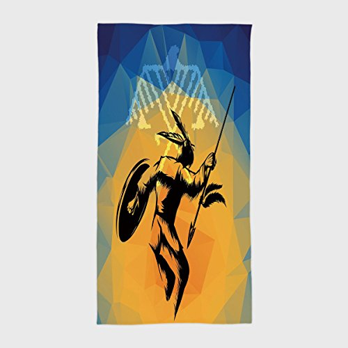 One Side Printing Hotel SPA Beach Pool Bath Hand Towel,Native American War Dance Ritual Against Ancient Totem Poly Effect Triangles Abstract Pale Orange Blue,for Kids Teens and Adults by iPrint